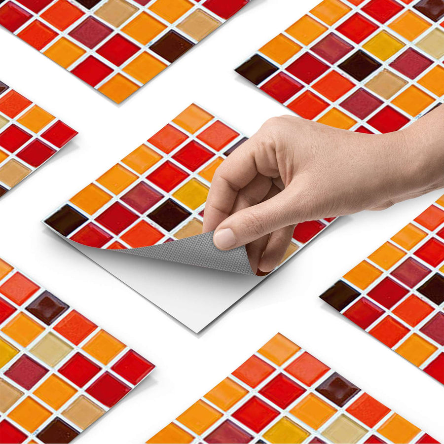 Fliesenfolie - Mosaik Rot-Orange - Do-it-yourself - creatisto
