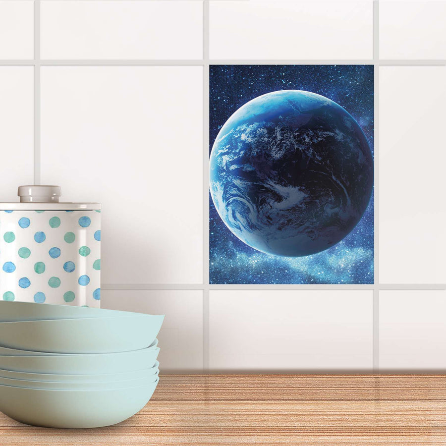 Fliesensticker Küche - Planet Blue