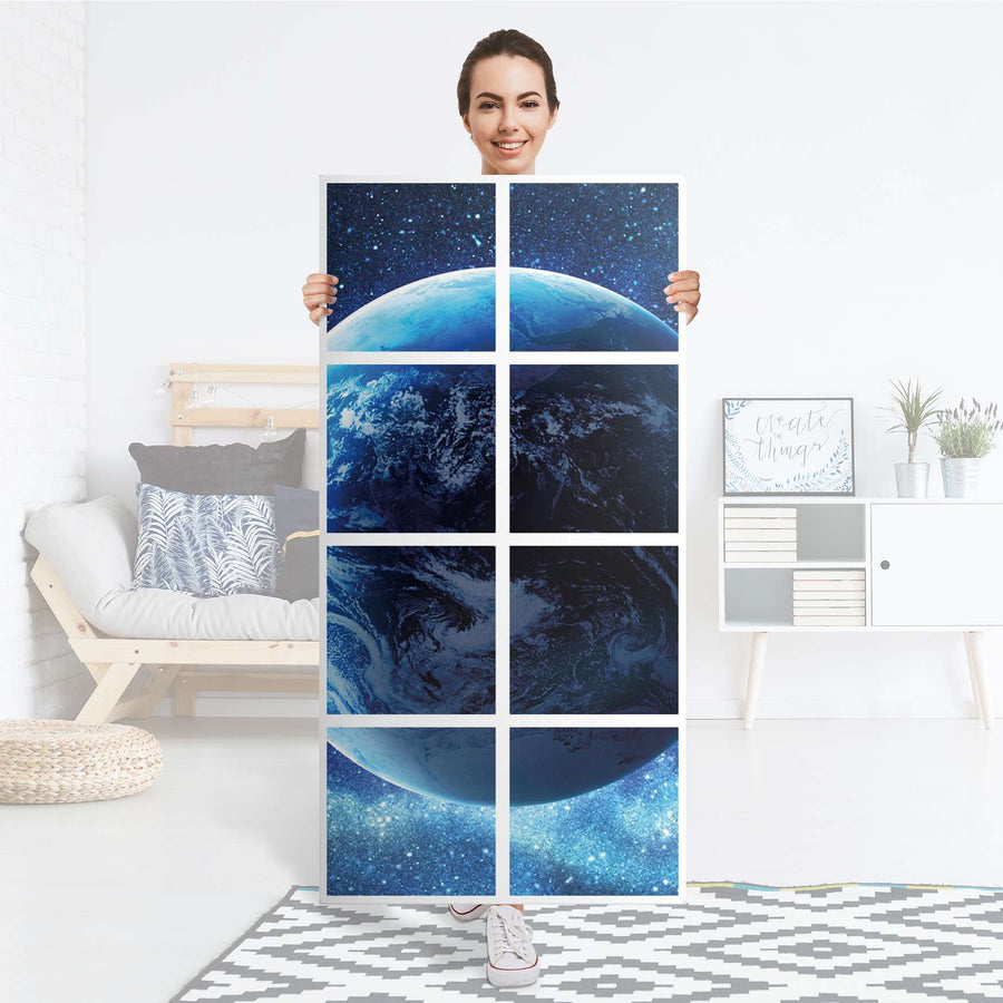 Folie für Möbel Planet Blue - IKEA Kallax Regal 8 Türen - Folie