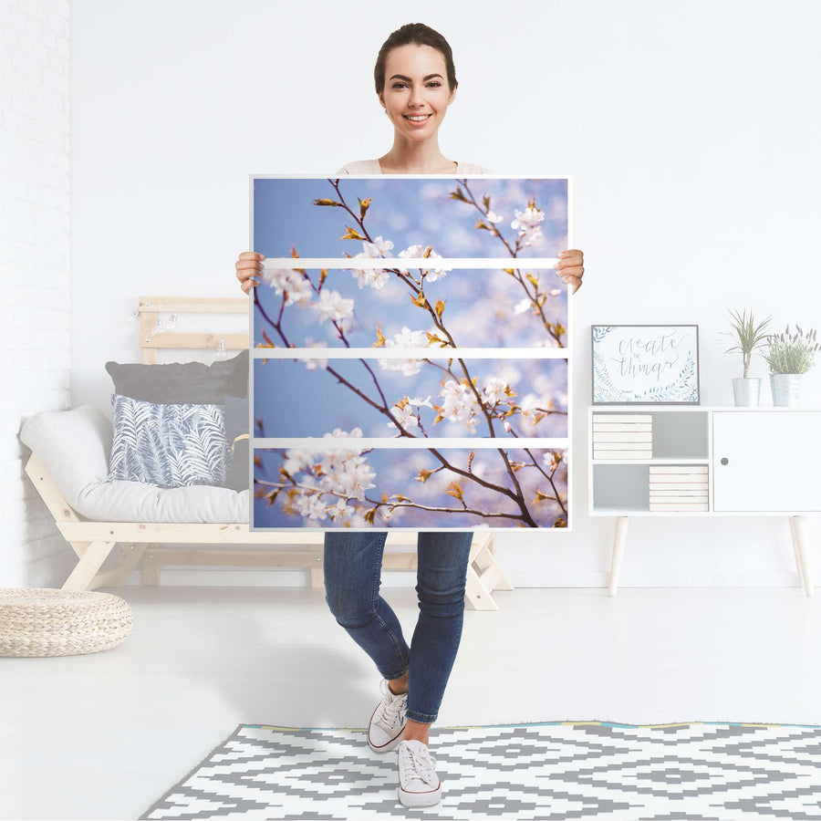 Folie für Möbel Apple Blossoms - IKEA Malm Kommode 4 Schubladen - Folie