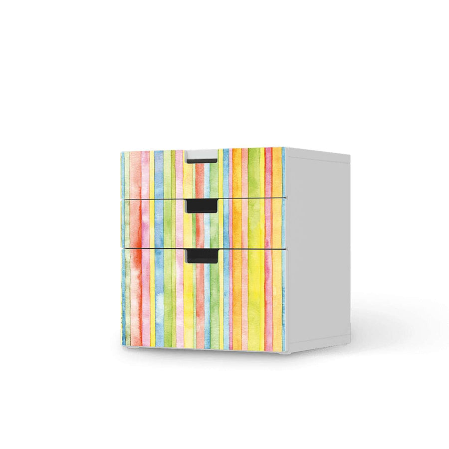 Folie für Möbel Watercolor Stripes - IKEA Stuva Kommode - 3 Schubladen (Kombination 1)  - weiss