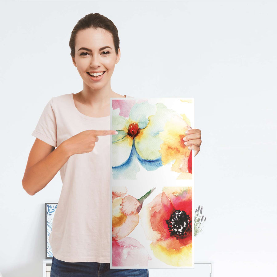 Klebefolie für Möbel Water Color Flowers - IKEA Expedit Regal 2 Türen Hoch - Folie