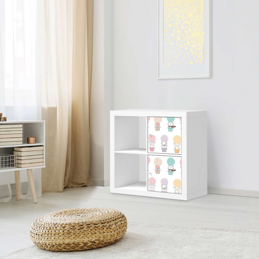 Klebefolie für Möbel Flying Animals - IKEA Expedit Regal 2 Türen Hoch - Kinderzimmer