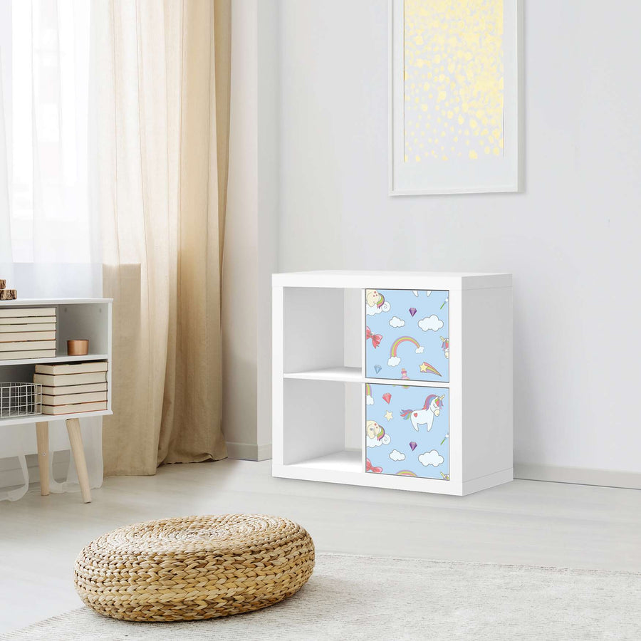 Klebefolie für Möbel Rainbow Unicorn - IKEA Expedit Regal 2 Türen Hoch - Kinderzimmer