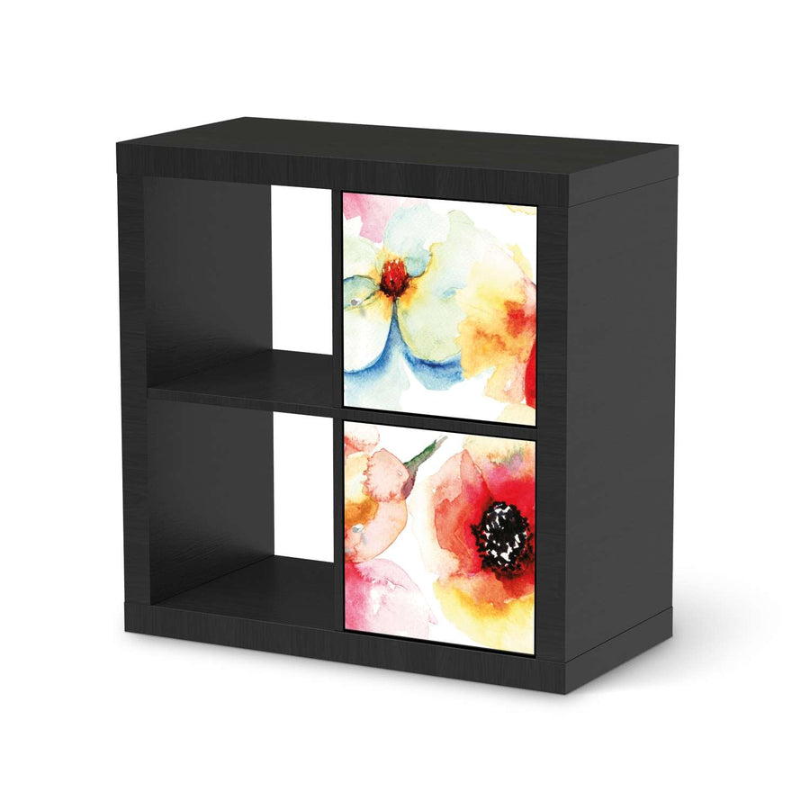 Klebefolie für Möbel Water Color Flowers - IKEA Expedit Regal 2 Türen Hoch - schwarz