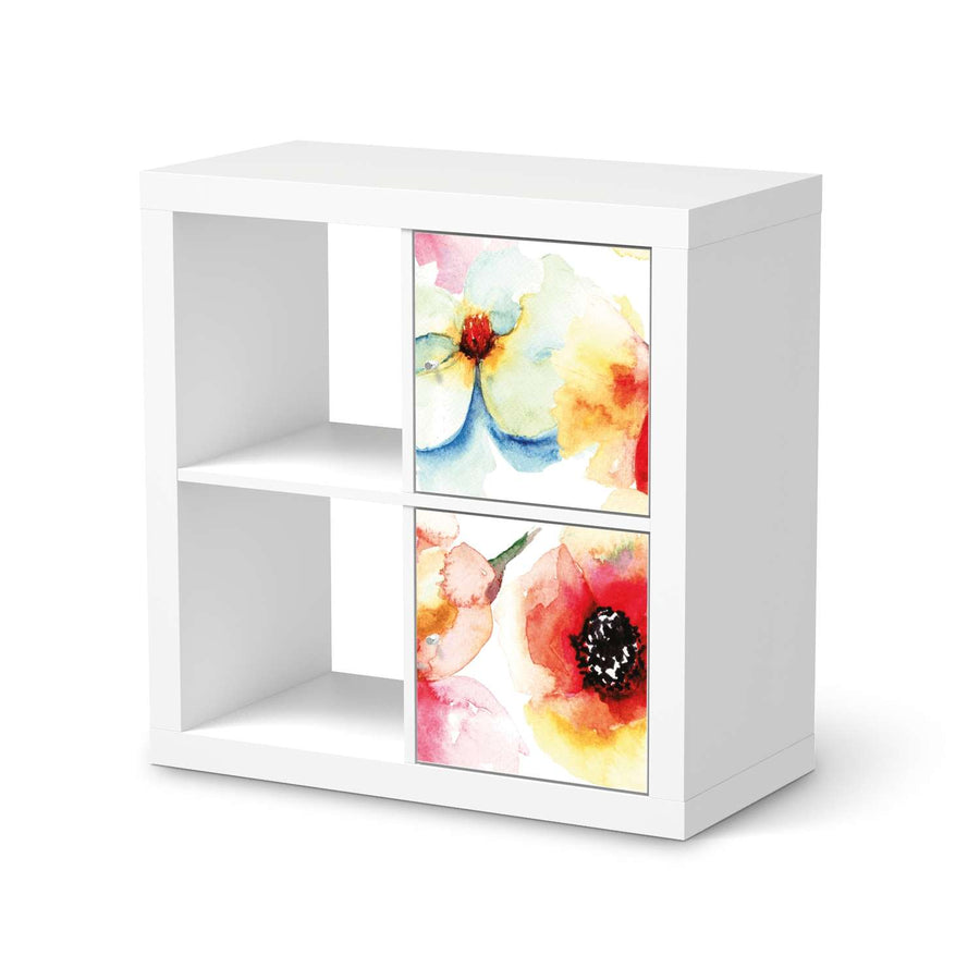 Klebefolie für Möbel Water Color Flowers - IKEA Expedit Regal 2 Türen Hoch  - weiss