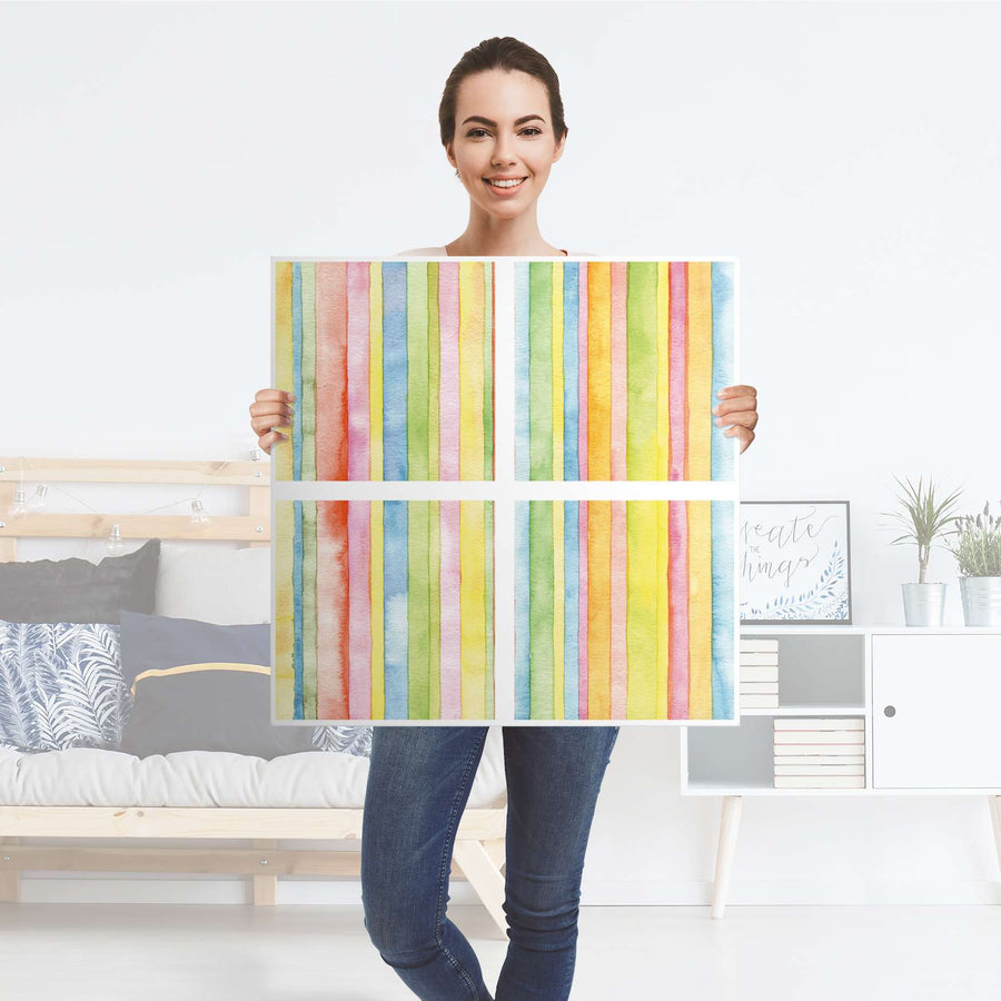 Klebefolie für Möbel Watercolor Stripes - IKEA Kallax Regal 4 Türen - Folie