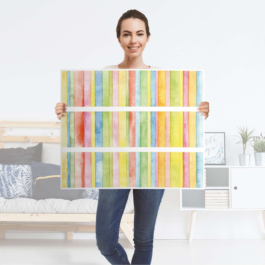 Klebefolie für Möbel Watercolor Stripes - IKEA Malm Kommode 3 Schubladen - Folie
