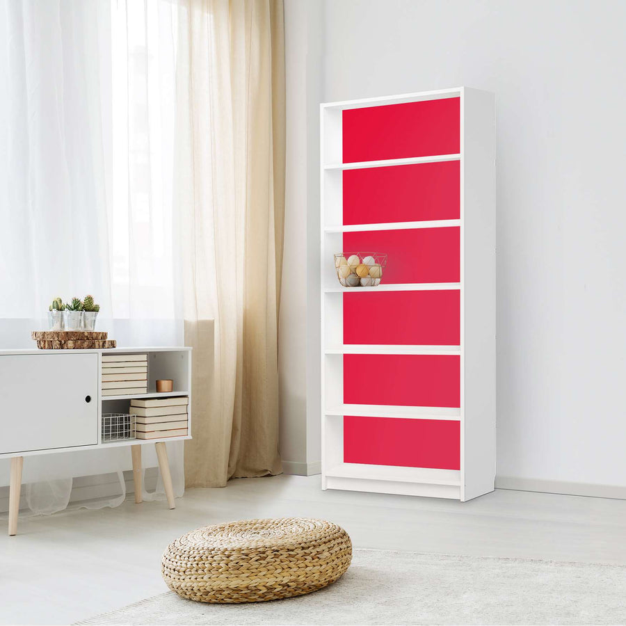 Klebefolie Rot Light - IKEA Billy Regal 6 Fächer - Wohnzimmer