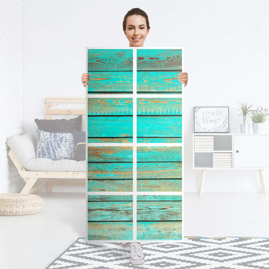 Klebefolie Wooden Aqua - IKEA Expedit Regal 8 Türen - Folie