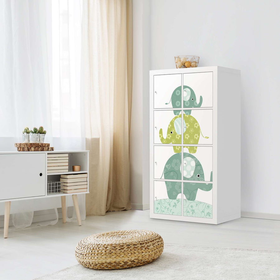 Klebefolie Elephants - IKEA Expedit Regal 8 Türen - Kinderzimmer