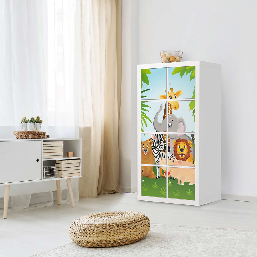 Klebefolie Wild Animals - IKEA Expedit Regal 8 Türen - Kinderzimmer