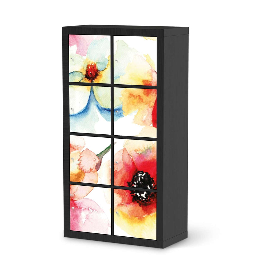 Klebefolie Water Color Flowers - IKEA Expedit Regal 8 Türen - schwarz