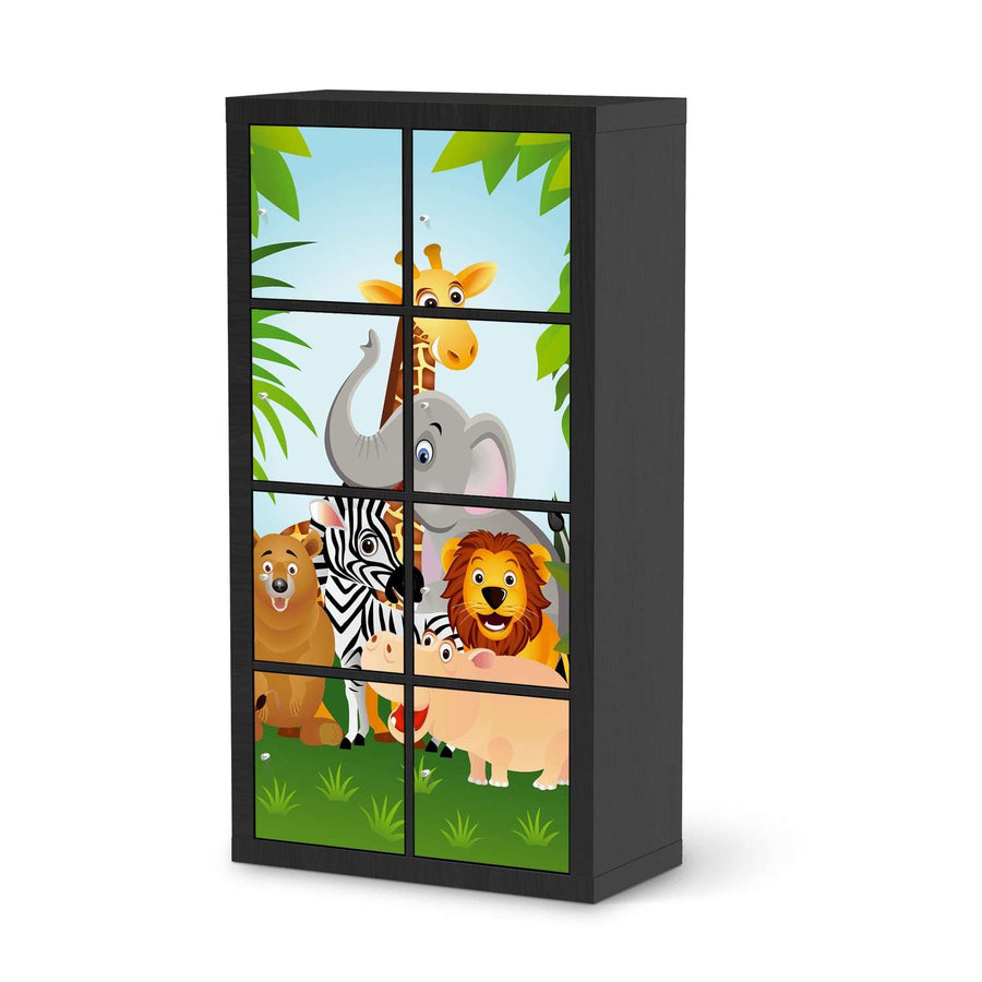 Klebefolie Wild Animals - IKEA Expedit Regal 8 Türen - schwarz