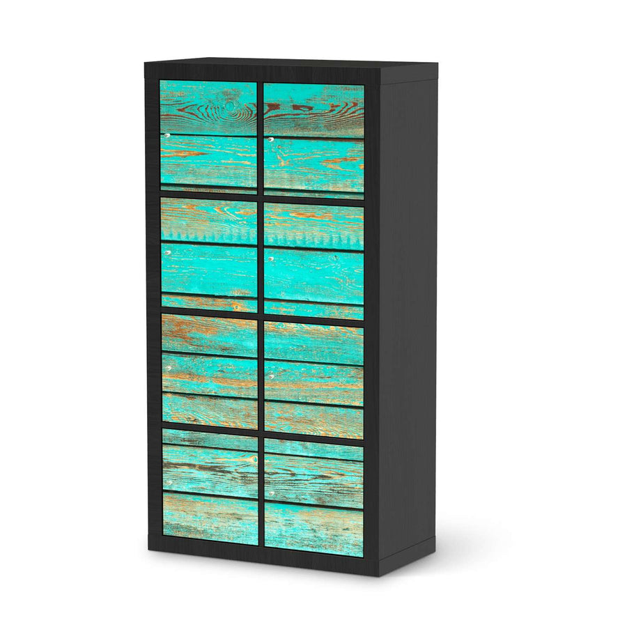 Klebefolie Wooden Aqua - IKEA Expedit Regal 8 Türen - schwarz