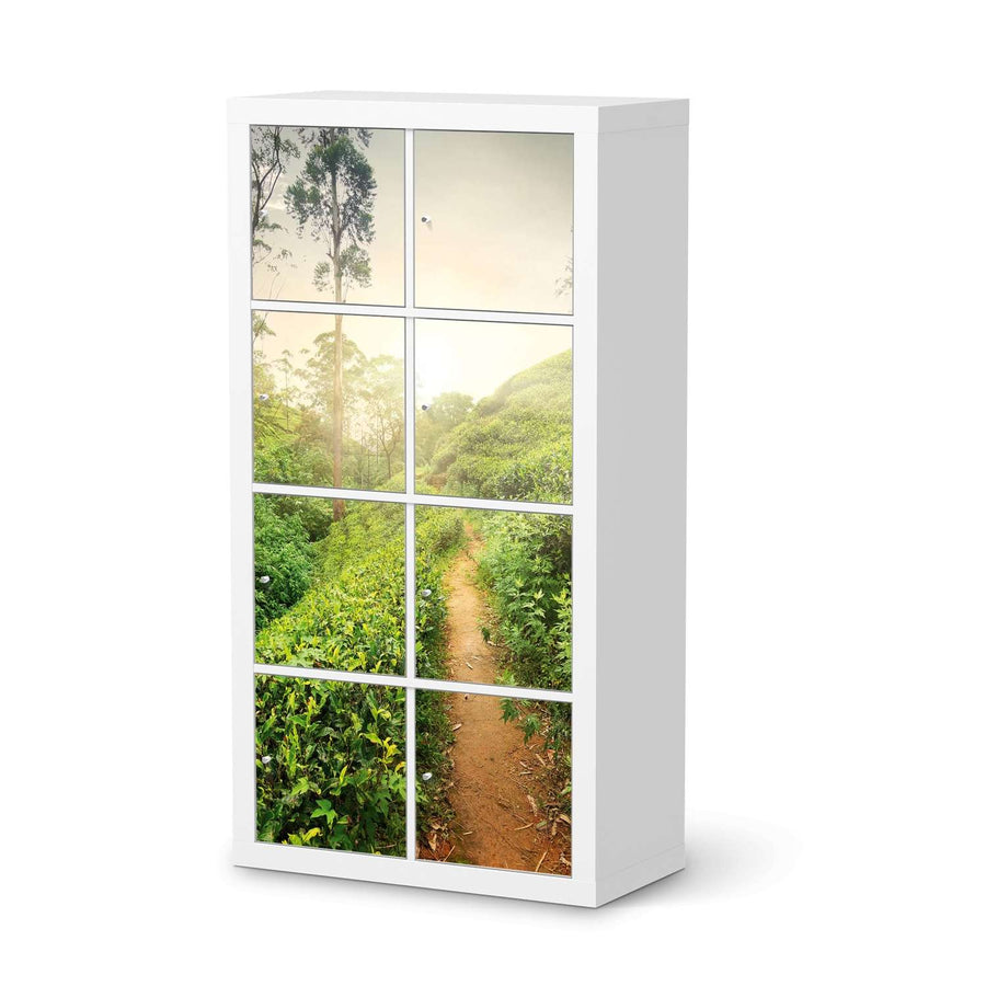 Klebefolie Green Tea Fields - IKEA Expedit Regal 8 Türen  - weiss
