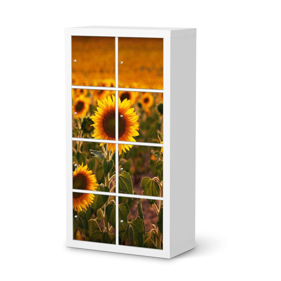 Klebefolie Sunflowers - IKEA Expedit Regal 8 Türen  - weiss