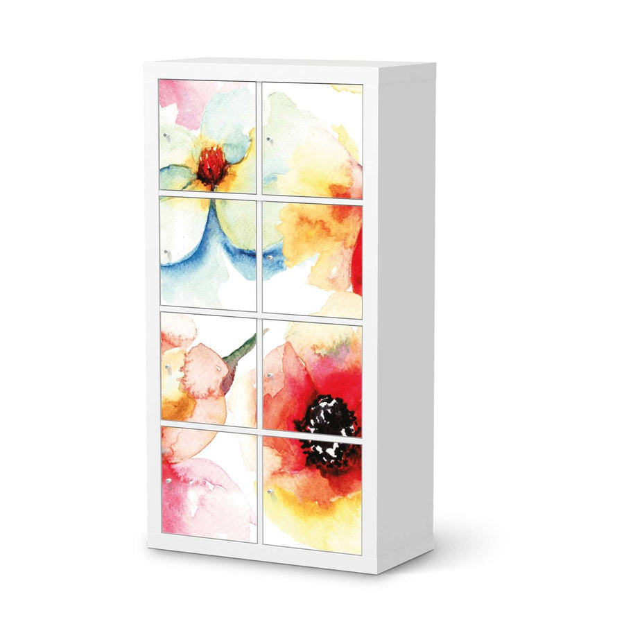 Klebefolie Water Color Flowers - IKEA Expedit Regal 8 Türen  - weiss