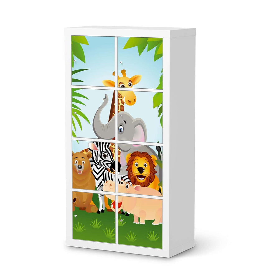 Klebefolie Wild Animals - IKEA Expedit Regal 8 Türen  - weiss