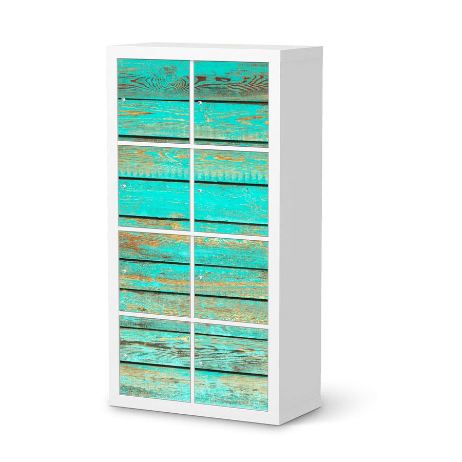 Klebefolie Wooden Aqua - IKEA Expedit Regal 8 Türen  - weiss