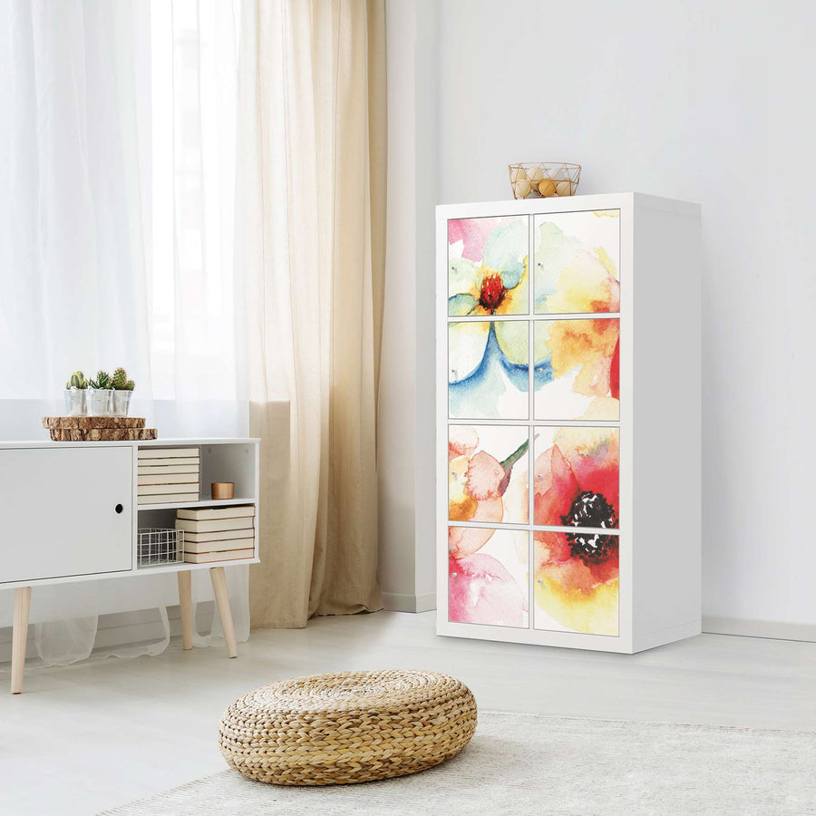 Klebefolie Water Color Flowers - IKEA Expedit Regal 8 Türen - Wohnzimmer