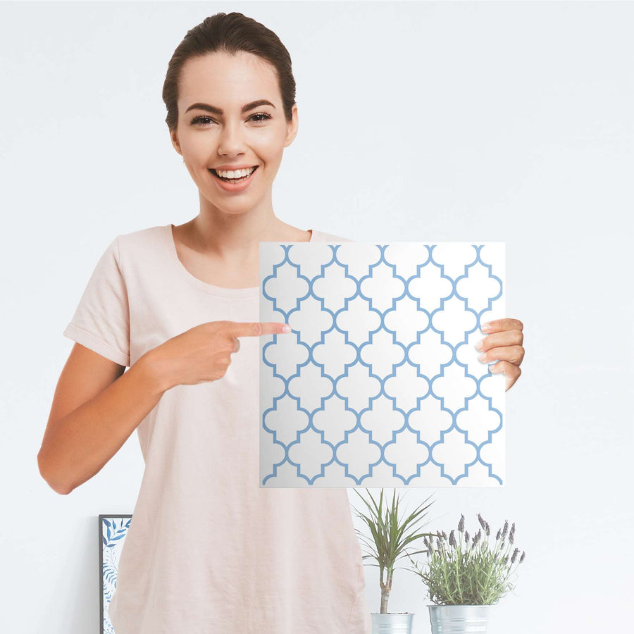 Klebefolie Retro Pattern - Blau - IKEA Expedit Regal Tür einzeln - Folie
