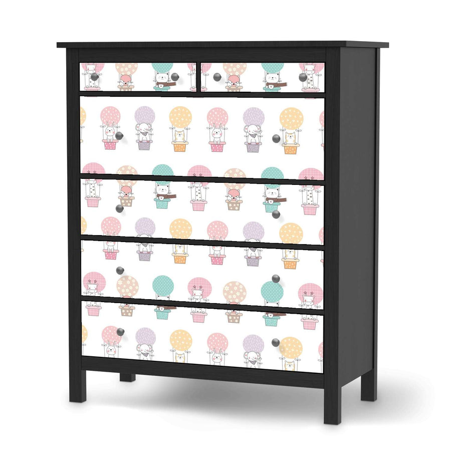 Klebefolie Flying Animals - IKEA Hemnes Kommode 6 Schubladen - schwarz