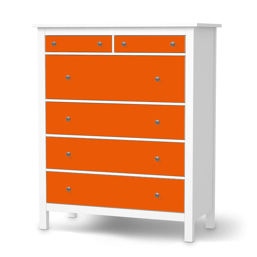Klebefolie Orange Dark - IKEA Hemnes Kommode 6 Schubladen  - weiss