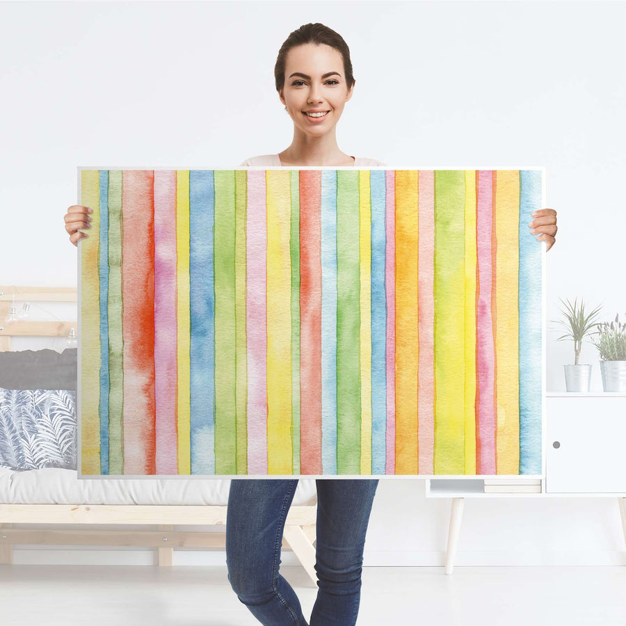 Klebefolie Watercolor Stripes - IKEA Lack Tisch 118x78 cm - Folie