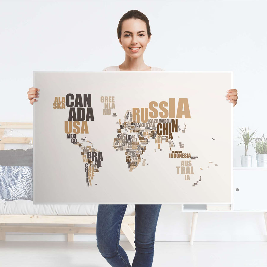 Klebefolie World Map - Braun - IKEA Lack Tisch 118x78 cm - Folie