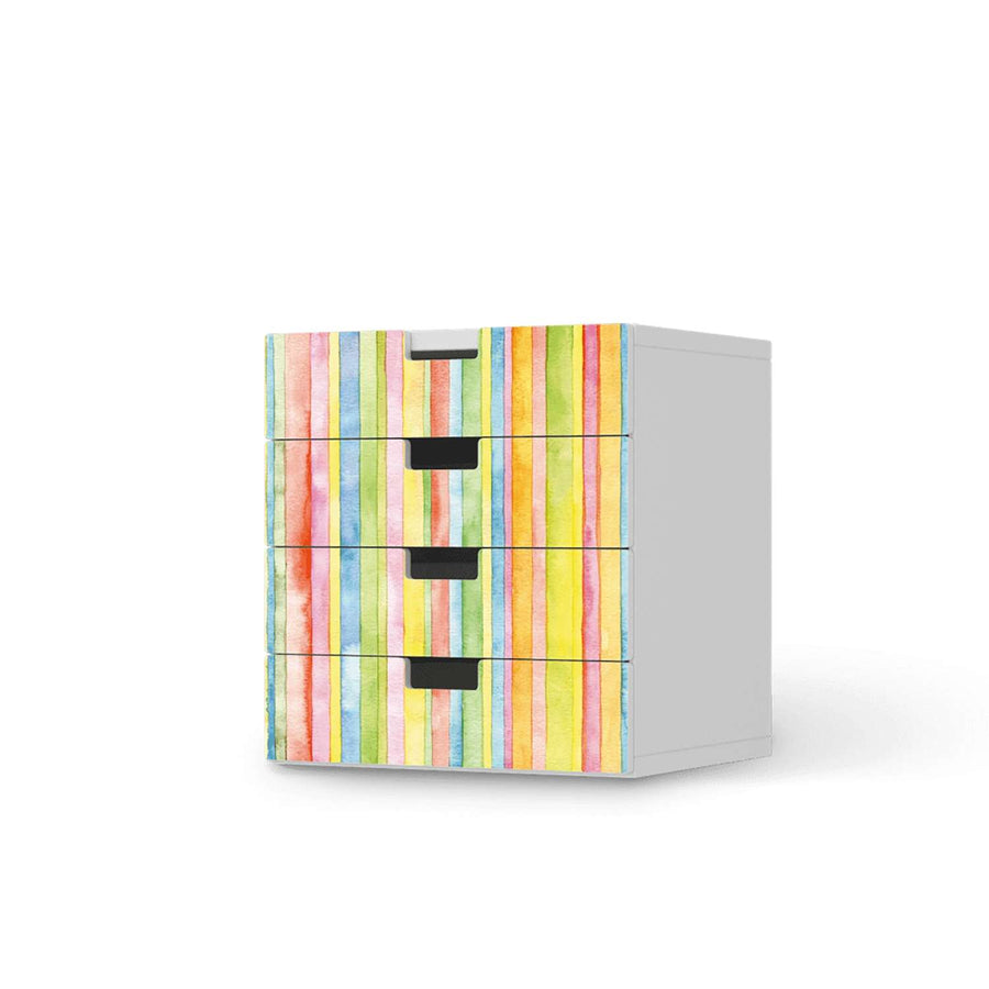 Klebefolie Watercolor Stripes - IKEA Stuva Kommode - 4 Schubladen  - weiss