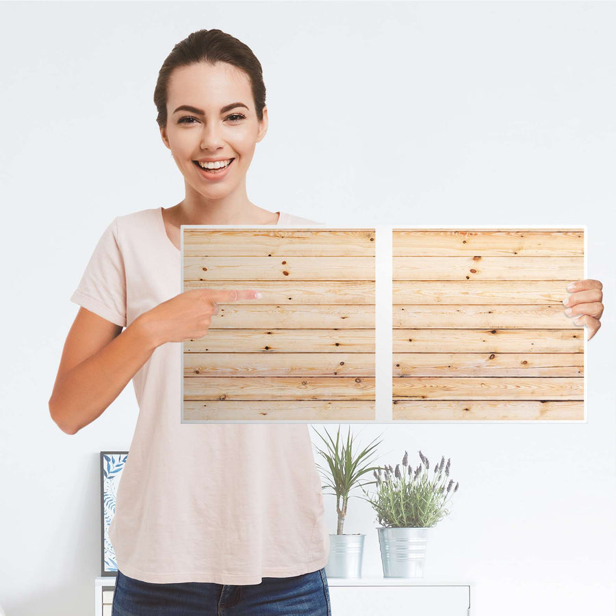 Möbel Klebefolie Bright Planks - IKEA Expedit Regal 2 Türen Quer - Folie