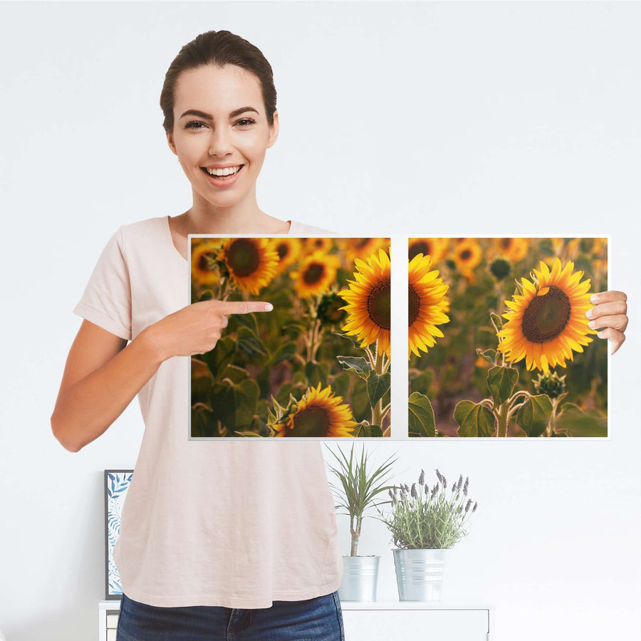 Möbel Klebefolie Sunflowers - IKEA Expedit Regal 2 Türen Quer - Folie