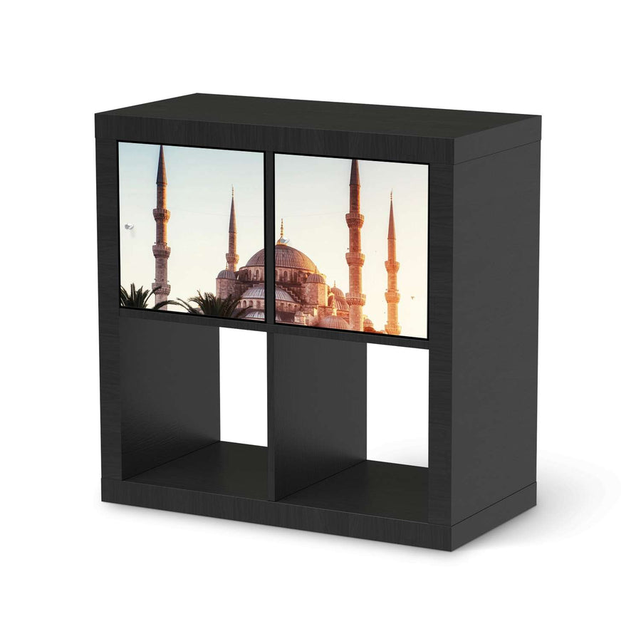 Möbel Klebefolie Blue Mosque - IKEA Expedit Regal 2 Türen Quer - schwarz