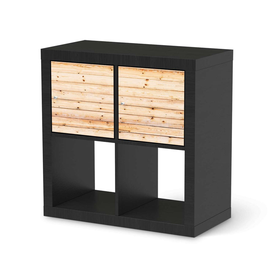 Möbel Klebefolie Bright Planks - IKEA Expedit Regal 2 Türen Quer - schwarz