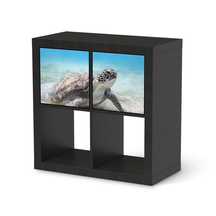 Möbel Klebefolie Green Sea Turtle - IKEA Expedit Regal 2 Türen Quer - schwarz