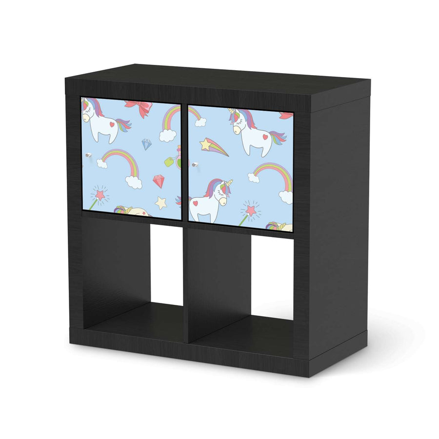 Möbel Klebefolie Rainbow Unicorn - IKEA Expedit Regal 2 Türen Quer - schwarz