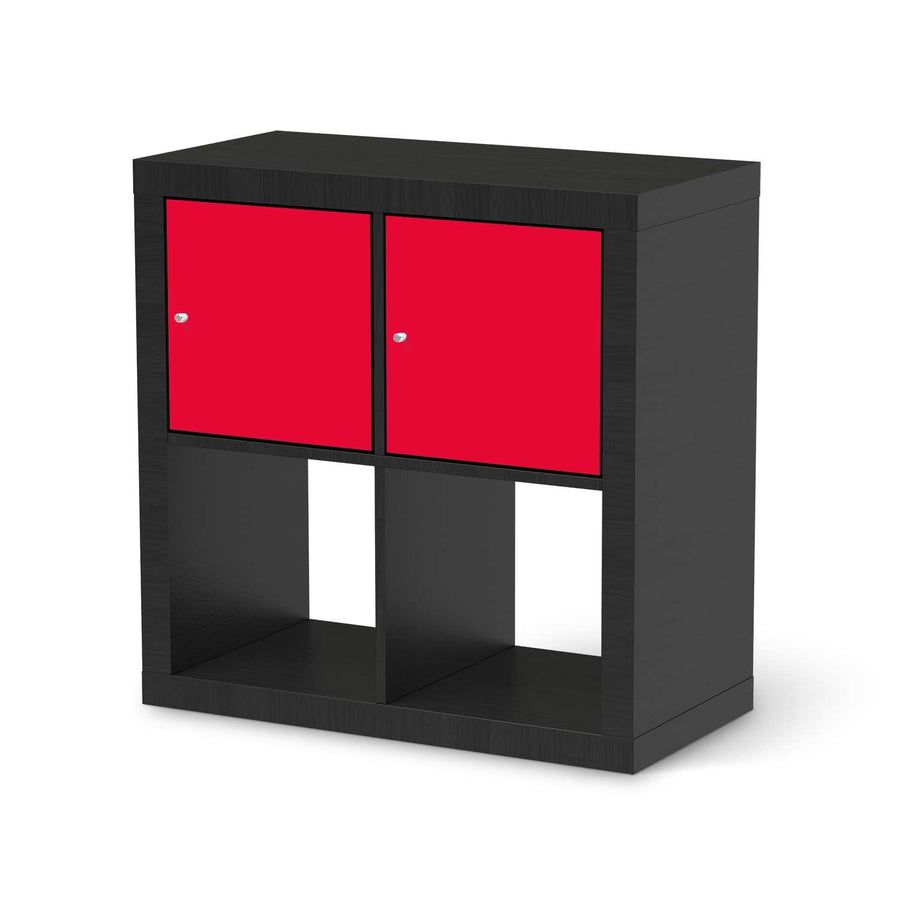 Möbel Klebefolie Rot Light - IKEA Expedit Regal 2 Türen Quer - schwarz