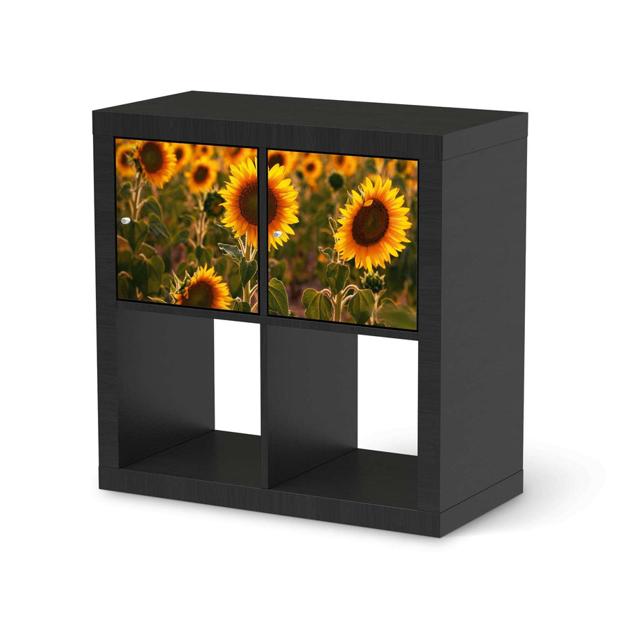 Möbel Klebefolie Sunflowers - IKEA Expedit Regal 2 Türen Quer - schwarz