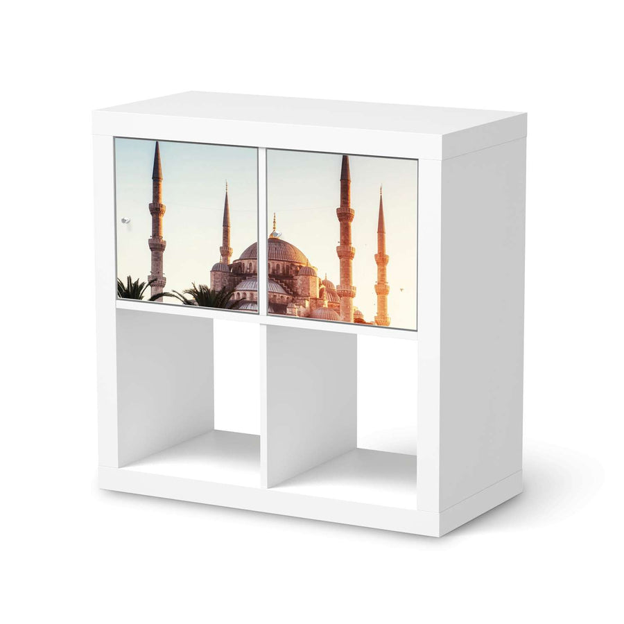 Möbel Klebefolie Blue Mosque - IKEA Expedit Regal 2 Türen Quer  - weiss