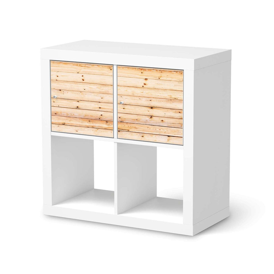 Möbel Klebefolie Bright Planks - IKEA Expedit Regal 2 Türen Quer  - weiss