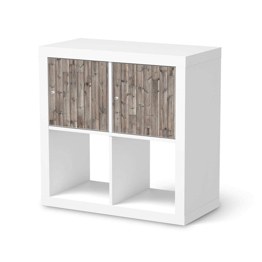 Möbel Klebefolie Dark washed - IKEA Expedit Regal 2 Türen Quer  - weiss
