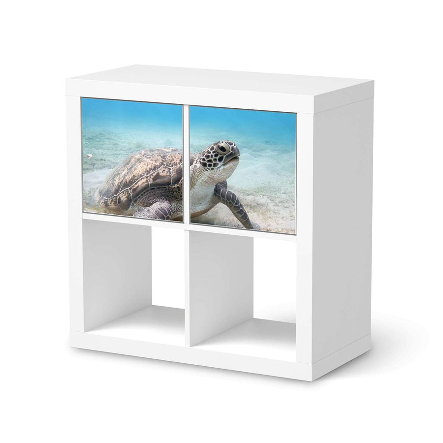 Möbel Klebefolie Green Sea Turtle - IKEA Expedit Regal 2 Türen Quer  - weiss