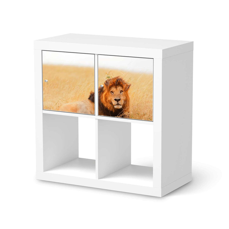 Möbel Klebefolie Lion King - IKEA Expedit Regal 2 Türen Quer  - weiss