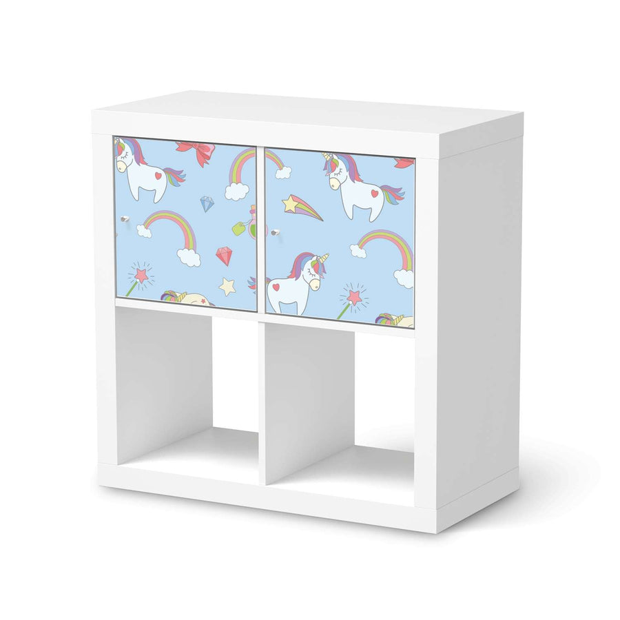 Möbel Klebefolie Rainbow Unicorn - IKEA Expedit Regal 2 Türen Quer  - weiss
