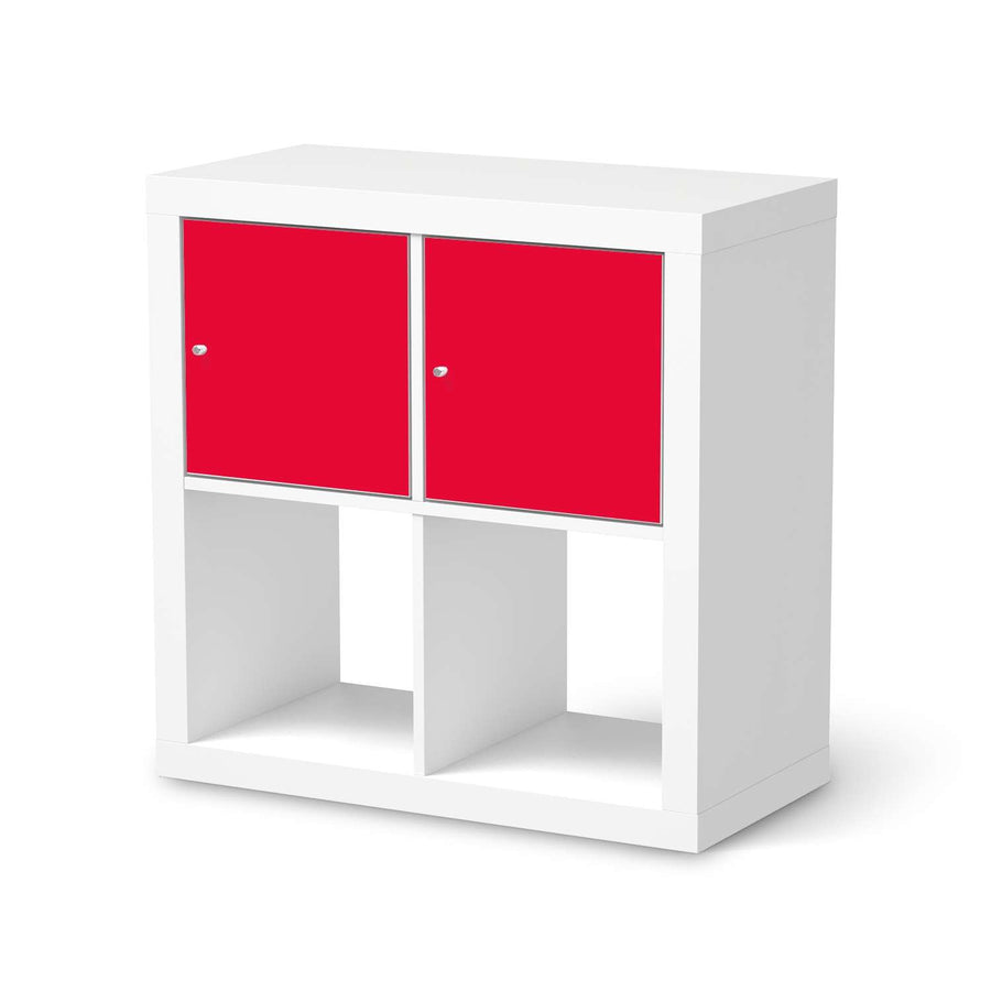 Möbel Klebefolie Rot Light - IKEA Expedit Regal 2 Türen Quer  - weiss