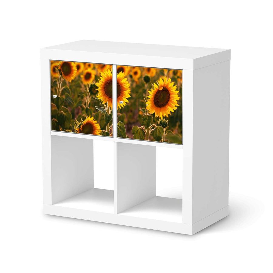 Möbel Klebefolie Sunflowers - IKEA Expedit Regal 2 Türen Quer  - weiss