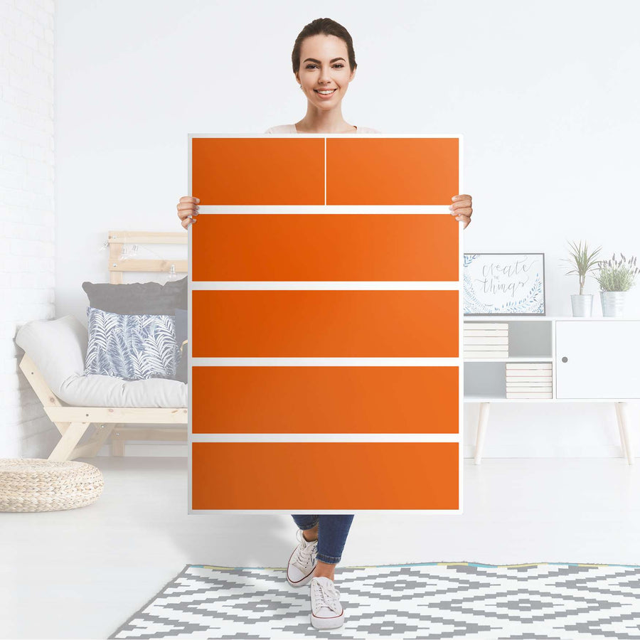 Möbel Klebefolie Orange Dark - IKEA Malm Kommode 6 Schubladen (hoch) - Folie