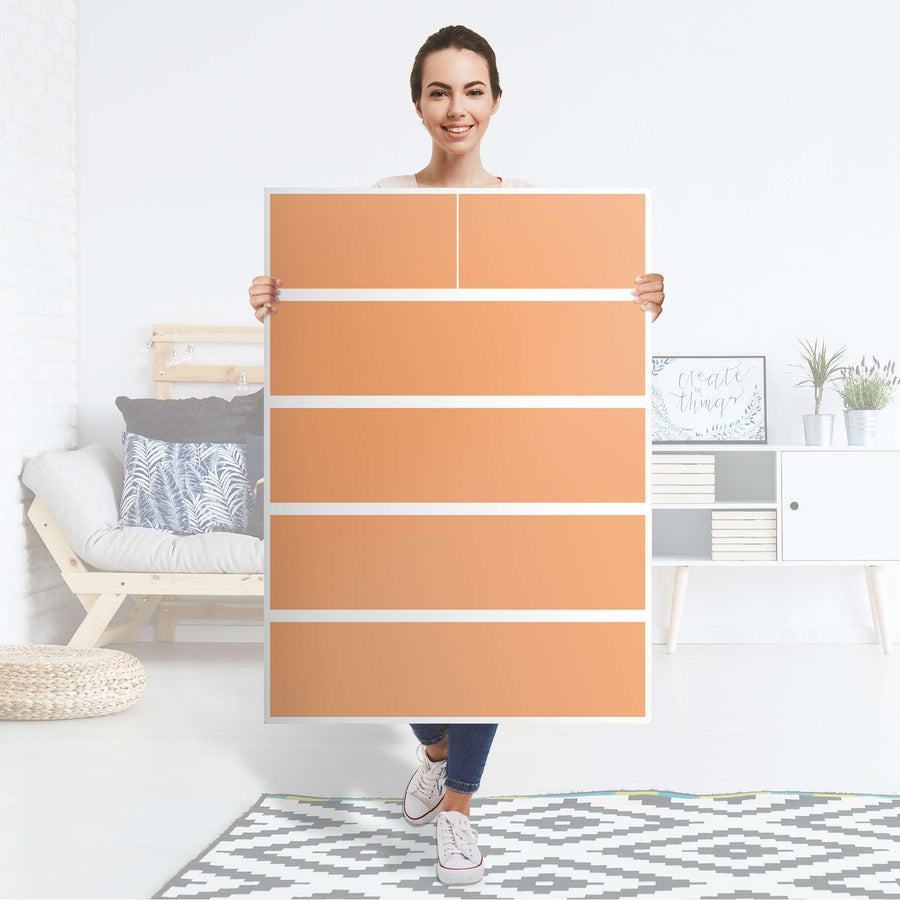 Möbel Klebefolie Orange Light - IKEA Malm Kommode 6 Schubladen (hoch) - Folie