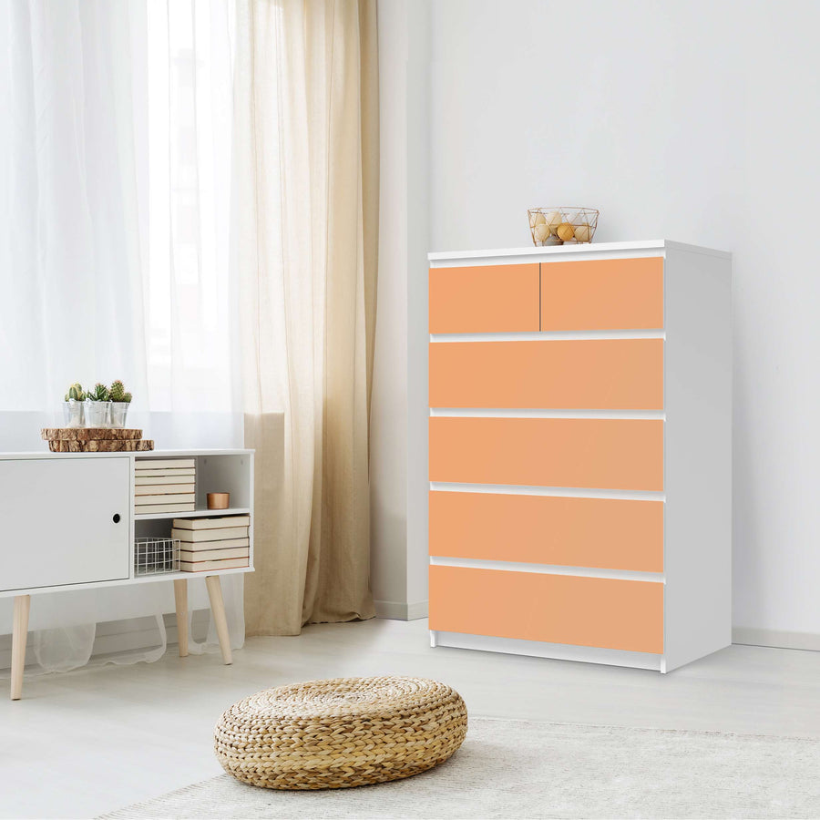 Möbel Klebefolie Orange Light - IKEA Malm Kommode 6 Schubladen (hoch) - Schlafzimmer